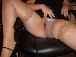 Honey, when you slide on those pantyhose or stockings and show off those beautiful legs and hairy pussy, I just need to stroke!