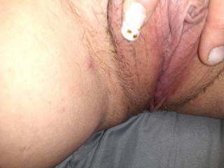 Spreading my lips apart so my hot cunt can prepare for....u tell me