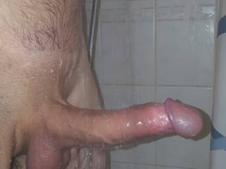 Oh fuck!!! I love the head on that cock.  I'd have to suck on it and make you cum.  That's one sexy cock.  I love sucking cock in the shower.  MILF K