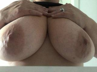 Long time no see. I had to post my wifes huge tits.