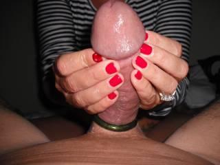 I love the way she stimulates my cock.