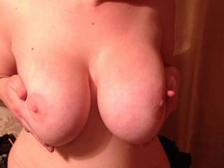 Will you hold them while I kiss and suck your nipples, so I can use both of my hands further down at the same time xxx( O )( O )xxx   OMG just look how big your nipples are now that I'm kissing and sucking them xxx :-)