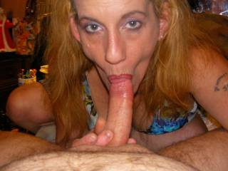 now she sucking my cock and she gets really wet the longer she sucks