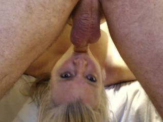 Face fucking makes busty wife cum!  Watch my wife cum, no tricks, from just getting her mouth fucked.