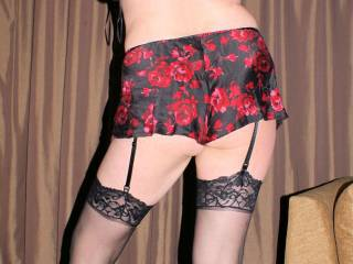 Love your rear in this and the stockings -- all women should wear stockings in my opinion.