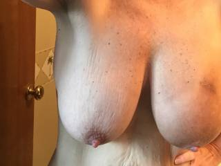 OMG!  I love how big and sexy your titties are!! Love how ripe and erect your nipples are. YES, I would LOVE to suck them and much more!!  Love to see them swinging and bouncing too!!