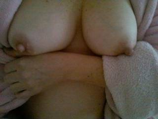 WOW,Beth! Amazing tits! I love your huge hard nipples! I wanna kiss em,lick em,nibble em and suck on them! May I?