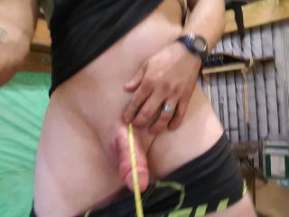 Measuring my semi hard dick for my wife and her friends in garage