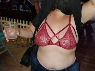 wife flashing out at the bar this weekend at bike week