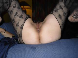 My cock is twitching seeing you in those sexy stockings and such a beautiful hairy pussy!