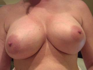 your breasts are awsome, would love to shove my erected shaved cock between them and cum hard...