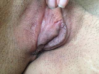 my recently pounded by a 9 inch fat dick pussy....its SO swollen..look at how the lips are all pouty