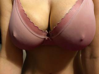 This bra can\'t hide my hard nipples