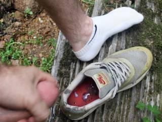 horny outdoors.   fucked my sneaker