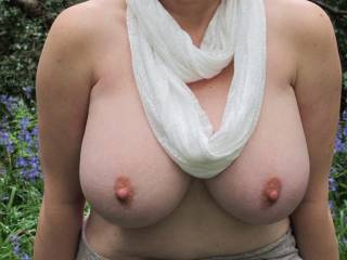 Gorgeous breasts and I love the outdoor flashing! Thanks