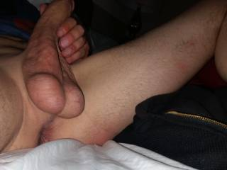Love ur nice full balls....would love to slide them into my mouth!