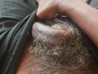 Hard and horny black cock woke up solid