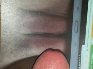 Cock is hard as a rock looking at Kallie\'s pussy with my cock tribute! About to start stroking my dick until I cum all over her!