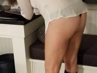 Wife in shear shirt and thong. Anyone like her thick thighs?