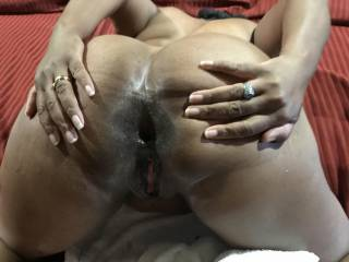 I always have fun with this married slut. This photo was after a 3 hour anal marathon. She wanted to show off what I did to her wide open butthole.. btw love the comments, if you like please post!