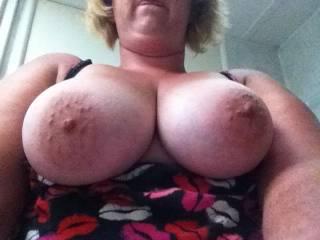 Nice big nipples!  Wish I was sucking on them!