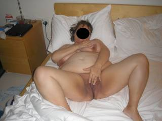 Wife naked on bed, who\'s next???