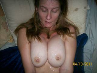 Wow, what a great girl. Cum all over those hot tits, love to add mine some time