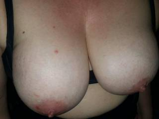 Feed me your bg ripe tits, let me lick, suck and bite them as you unzip my big cock and guiding it into your wet, swollen pussy ride yourself to a huge orgasm xx