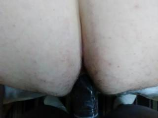 Getting a nice big black cock up my hairy white ass.