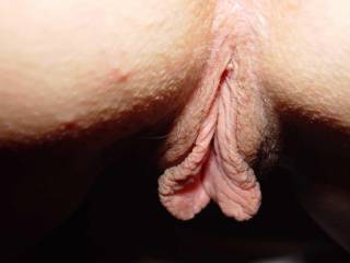 Wife\'s big lips from behind.