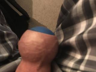 How do you like this squash ball inside my foreskin, Found a way to get it in and stays there.
