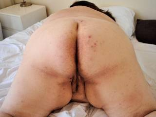 stay like that and I will fuck both holes and let your hubby take pics of my cock sliding in and out of those wet holes