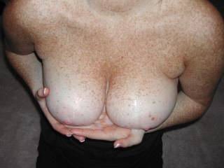 love your tits and id love to cum on them and lick all the cream you have on