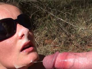 outdoor cumshot from hubby