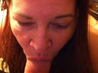 Mmmmmm. Love her mouth.  She can make u cum so fast. Makes her pussy dripping wet taking a thick cock in her mouth
