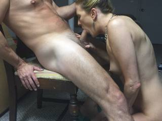 Wow, I love how sexy she looks servicing that cock....is that her husbands cock she is servicing?  Will she service other cocks too?  Mine sure would love to enjoy her servicing....my hard thick cock.  G