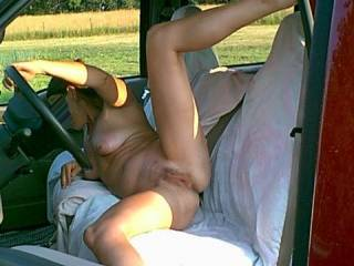 Awesome pic of that hot body and gorgeous juicy pussy of yours, Jill! I would luv to feast on your succulent pussy, right there on the seat of your truck,  for orgasm after gushing orgasm have you begging for cock and a good hard fucking!