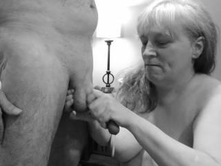 """Femme Sexuelle - Noir et Blanc Classique: """"Draining A Lovely Cock With A Massage"""""""