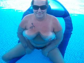 very sexy love the big pierced nipples hmmm, can anyone see you in the pool!!!