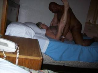Mrs Daytonohfun taking that cock deep, look at her legs in the air!  Such a naughty married woman.  She ended up taking 4 cocks that night and 3 weren\'t her hubby!