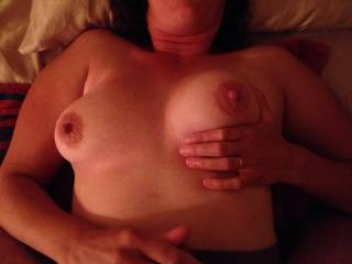 Oh there is a story, it goes Mrs.S. sucking on these tits while I fuck you and Mr.G. fucks her till we are both ready to cum. Then we cover your tits with both loads while Mrs.S. keeps sucking and licking them clean...Mr.S