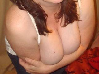 would love to slide my cock in between your lovely cleavage and have you wrap those sexy lips around the head when it pokes out