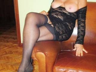 Very sexy view. Love that you are wearing stockings and high heels. xxx