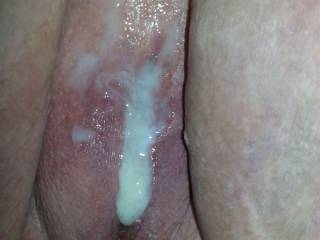 I had a guy cum outside my pussy when done....love how it looks so hot that way