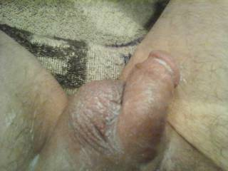 Our creamy finish to a long sexy chat with a zoig friend and great sex after, his dick is tired out but will be ready again in less than 20 minutes. Look how big his balls still are.