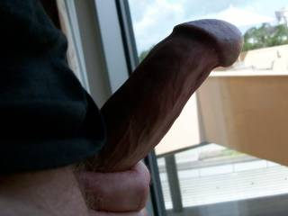 Was jacking my hard horny dick in the hotel window.  Hope someone was watching!
