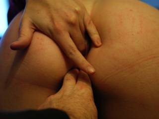 After a few swats I made her show me where she wanted cock while I soaked my fingers
