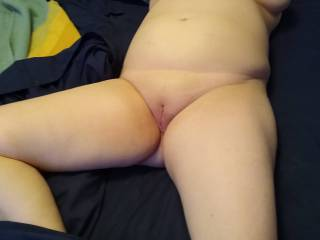 Mrs. Truck 89 took these for her playmate Joker. She was missing him and wanted to show him her sexy shaved pussy and soft curvy breasts. Hoping to meet local couples and singles again once the pandemic is over, stay well and stay safe. See you again soon