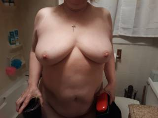 Had to take this picture of her tits,  she was so horny it looked like she was showing just how much only using her tits.  What do you think?