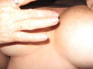 My other lover wanted a quickie so I called hubby and let him hear me sucking my lover's cock until he shot this load on my nipples.  His cum always tastes so much better than my sissy bitch hubbies faggot cum.  I make him eat up all his sissy spe.  MMmmm